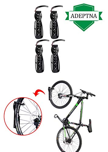 ADEPTNA Set of 4 Heavy Duty Vertical Wall Mounted Bicycle Storage Hanging Hooks - Suitable For Indoor Or Outdoor Use