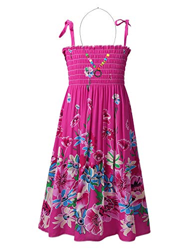 TiaoBug Mädchen Kleider Spaghettiträger Sommerkleid Hohe Taille Strandkleid mit Halskette Prinzessin Partykleid Festkleid gr.110-152 Rose Rot 140-152