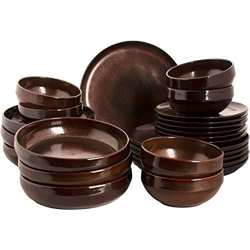 palmer Bama Copper - Vajilla (cerámica, 24 piezas, para 6 personas), color cobre