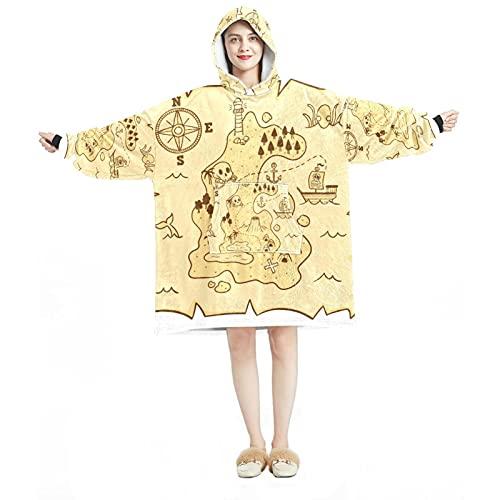 Sudadera con capucha, casual de microfibra suave, camisón cálido para hombres y mujeres con diseños de mapa del tesoro pirata dibujados a mano