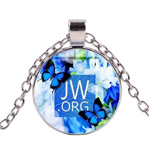 JW.ORG - Collar con colgante de testigos de Jehová, diseño de flores de mariposa, diseño de cúpula de cristal, regalo para mujeres y hombres
