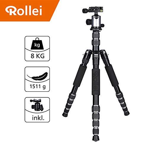 Trípode Rollei Traveler de Aluminio en Titanio con rótula de Bola - Compatible con cámaras DSLR y DSLM - Incl. monopie, Placa de liberación rápida Arca Swiss y Bolsa para trípode