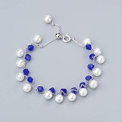 FACAIBA Collar Mujer Hombre Moda para Mujer Pulsera Collar Set de Moda para Mujer Pulsera de Perlas de Dos Tonos Regalo