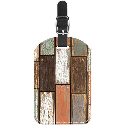 Etiquetas de equipaje de madera antigua, etiquetas de cuero para maleta de viaje, 1 paquete