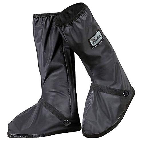 Lzfitpot Regenüberschuhe Fahrrad, wasserdichte Überschuhe für Herren Damen, Schwarz rutschfest Regen Überschuhe, Verstärkt mit Reflektor & Stabiler Streifen, perfekt Regenschutz für Regen Schnee