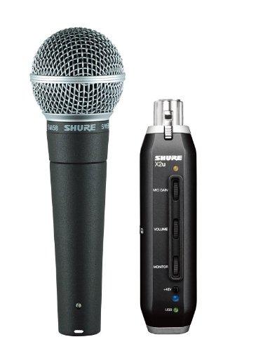 Shure SM58-X2U dynamisches Gesangsmikrofon mit Nierencharakteristik für professionelle Live-Auftritte und Studioaufnahmen, inkl. X2U XLR-auf-USB-Adapter