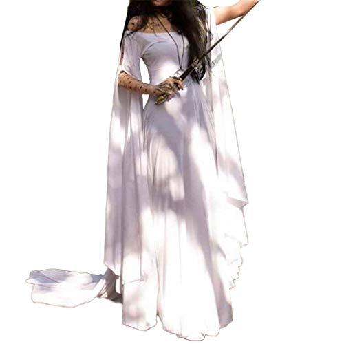 hibote Damen Mittelalter Langarm Kleid - Retro Renaissance Viktorianisch Kostüm Langes Kleider mit Ausgestellte Ärmel für Halloween Party Cosplay S-5XL