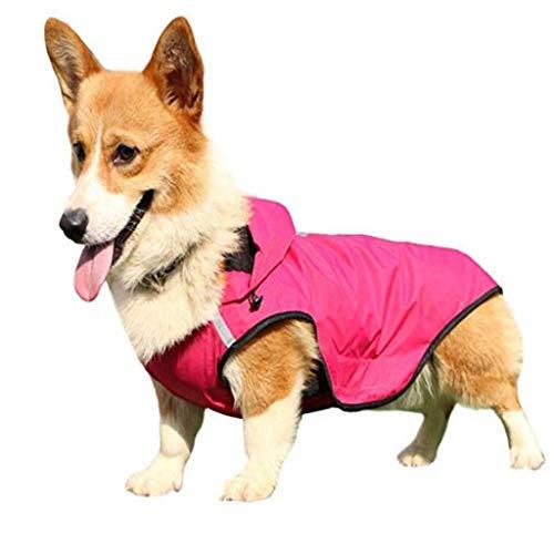 ZJYZJQ Hunde Regenmantel Wasserdicht Hundemantel Groß Gefüttert Ultraleichte Atmungsaktive Hundejacke Reflexstreifen Regenjacke Hunde Mit Kapuze Rain