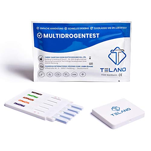 5 x Telano Multi Drogenschnelltest für 10 Drogenarten | Kokain - Cannabis (THC) - Amphetamin - Methamphetamin -MDMA - Opiate - Benzodiazepine - Ketamine - Methadon - Barbiturate