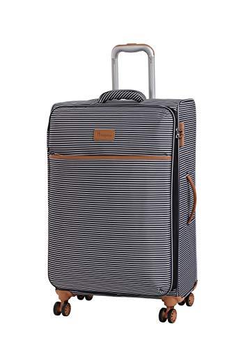 it luggage Beach-Stripes 4 Wheel Lightweight Semi Expander Medium With Tsa Lock Suitcase, 70 cm, 90 L, Black/ Grey Stripes