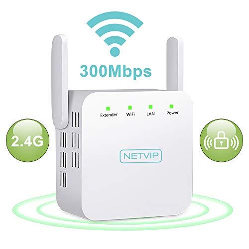 NETVIP Amplificador red Wifi Inalámbrico 300Mbps Repetidor Wifi de red extensor antena wifi Ethernet Range Extender senal de wifi ultraboost alargador wifi inalambrico(Puerto LAN, Enchufe EU)