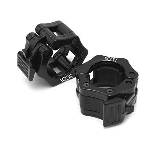 AQOS Abrazaderas para mancuerna  50mm  para Barra olímpica  2 Unidades  Collares de Resorte para mancuerna  Pinza de Resorte para mancuerna y Barras  Pesas  Gym  Crossfit  sujeta Discos.