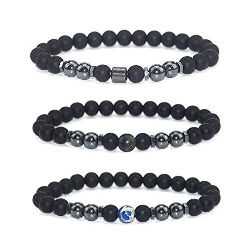 dongwenchao1104 Pulsera de obsidiana de Moda Tobillera, Cadena de imán Ajustable, Hombres y Mujeres (3 Piezas) A