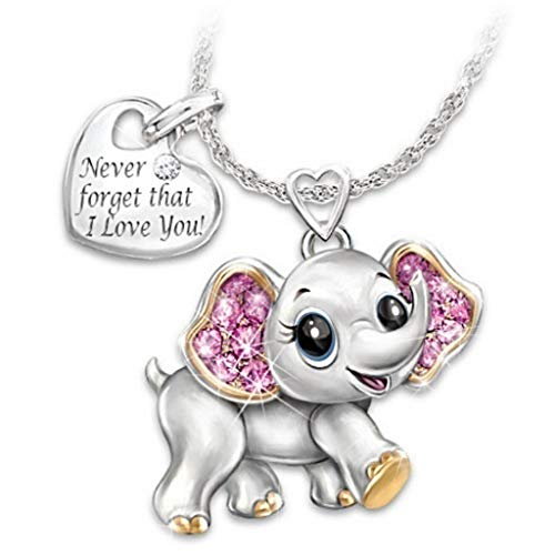 VEED Elephant Bee Owl Pendant Necklace Lucky Animals Never Forget I Love You Pendant