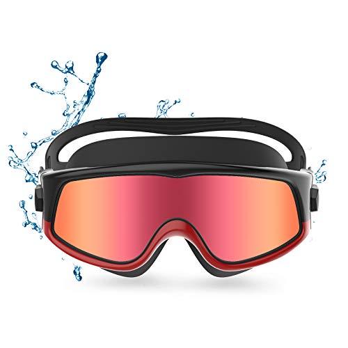 Funní Día Gafas de natación de visión panorámica, sin fugas, antivaho, protección UV, para adultos, hombres, mujeres, jóvenes, adolescentes
