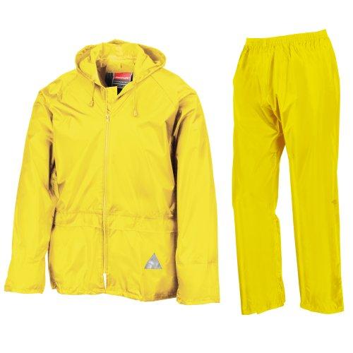 Result Herren Regenanzug bestehend aus Regenjacke und Regenhose, wasserdicht XXL,Neongelb