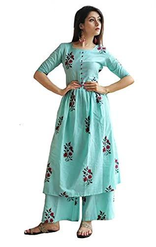GoSriKi Women's Cotton Anarkali Kurta with Palazzo (KUZ-Kurti-Avenue-L_Sky Blue_M)