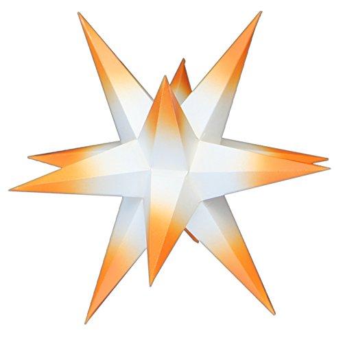 1 Stern Sternschmiede, Durchmesser 19cm, 80cm Kabel, Papier, weiß mit orange-farbenen Spitzen, handgefertigt, beleuchtet mit Netzteil, Fensterclip