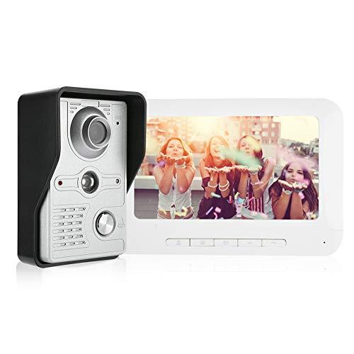 Kit de Timbre de Video Kit de interfono Timbre Sistema de cámara de Seguridad Inteligente Sistema de Seguridad para el hogar con función de visión Nocturna TFT LCD Screem de 7 Pulgadas US Plug (A)