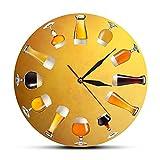 Usmnxo 12 Pulgadas sin Marco Varios Cerveza Artesanal fría Reloj de Pared elaboración de Cerveza Reloj silencioso Reloj de Arte cervecero casero Celebrar Cerveza decoración Mural