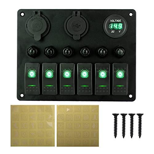 Development DC 12V / 24V 6 Rocker de pandillas Panel de interruptores de automóvil Circuito Marino LED Interruptor Digital Voltímetro Panel de Aluminio Dual USB Puertos (Color : 6 Gang Green)