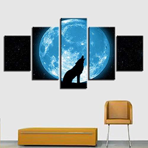 rkmaster-Modern Printing-Muurschildering 5 stuks maan en dier wolf als men abstract nachtscène schilderij decoratie modulaire poster canvas afbeelding | noemt schilderij