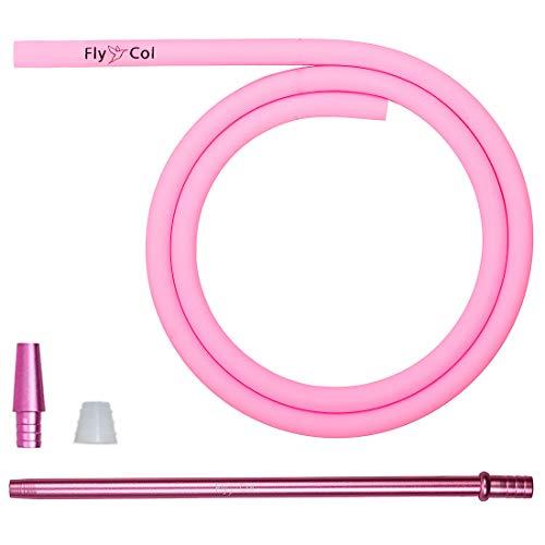 FlyCol Basic Shisha Schlauch Set universal für alle Wasserpfeifen | Silikonschlauch Shishaschlauch Schlauchset mit Adapter Mundstück | Zubehör (Pink)