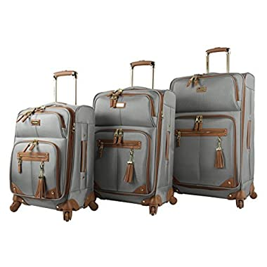 Steve Madden Luggage 3 Piece Softside Spinner Suitcase Set Collection (One Size, Harlo Gray)