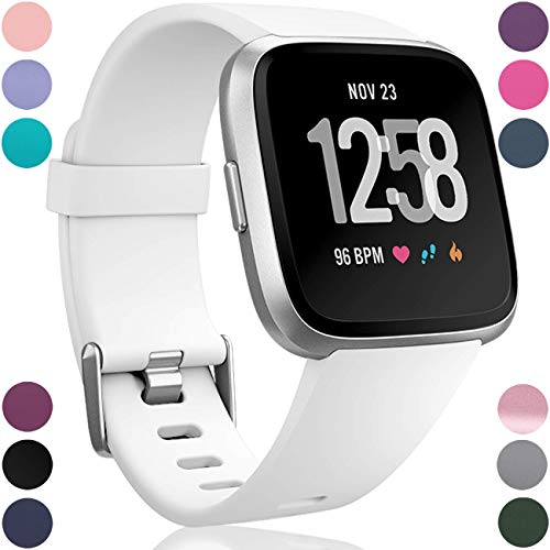Wepro Replacement Bands Compatible with Fitbit Versa SmartWatch, Sports Watch Band for Women Men, Small, White