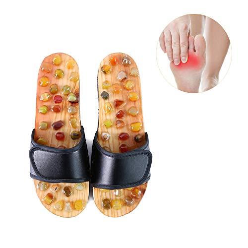 Yulo Fußslipper Sandalen Tai Chi Velcro verbessern Stoffwechsel achatstein Massage Flip Flops,Schwarz,M