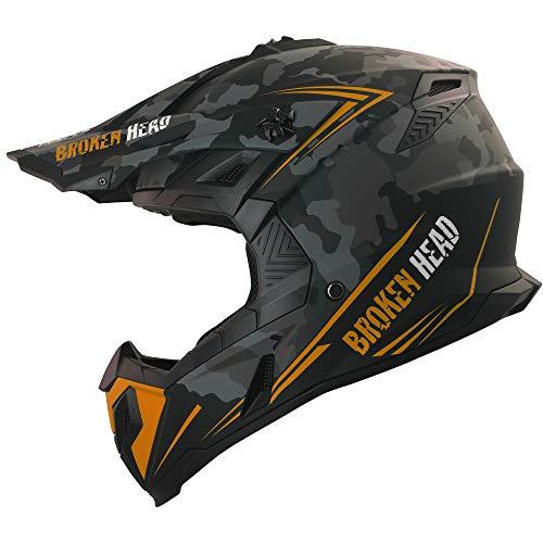 Broken Head Squadron Rebelution Camouflage Grau Orange - MX Motocross Helm - Quad-Helm - Sumo-Helm (M (57-58 cm))
