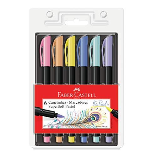 Caneta Ponta Pincel, Faber-Castell, Supersoft Brush, 15.0706TPSOFT, 6 Cores Pastel