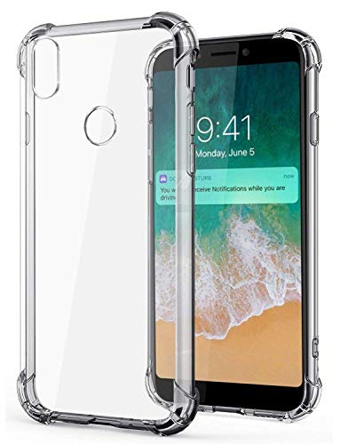 KOVERZ Silicon Flexible Shockproof Corner TPU Back Case Cover for Micromax Canvas 2 Plus (2018) -Transparent
