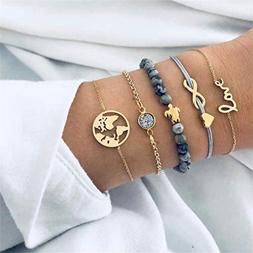 Eleusine 5Pcs/ Set Bohemian Turtles Beading Letters Maps Wristband Weave Multilayer Bracelet Set Women Bracelet Jewelry Gift