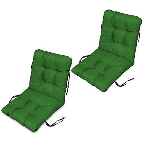 SuperKissen24. Set di 2 Cuscini per Sdraio 96x48 cm da Esterno ed Interno Resistente e Comodo per Sedie Reclinabili, Spiaggine e Poltrone da Giardino - Verde