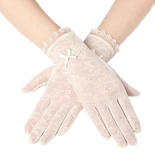 ArtiDeco Damen Lace Handschuhe Satin Braut Hochzeit Spitze Handschuhe Opera Fest Party Handschuhe 1920s Handschuhe Damen Kostüm Accessoires (Kurz Bogen Beige)