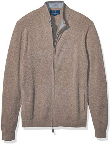Amazon Brand - Buttoned Down Men's Cashmere Full-Zip Sweater, Heather Brown, XX-Large