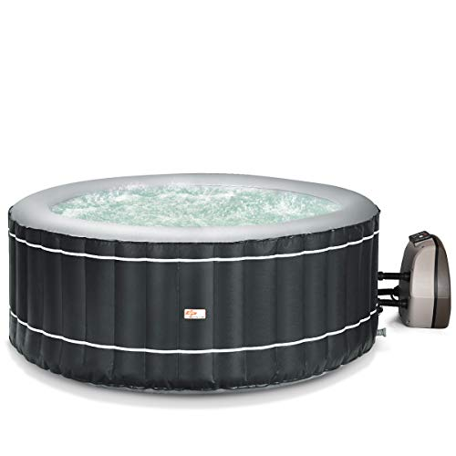 Goplus 4-6 Person Inflatable Hot Tub Portable Outdoor Spa Bubble Jet Massage Spa w/Accessories Set (4-Person, Black)