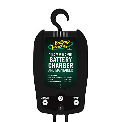 Battery Tender 10 AMP Rapid Battery Charger: 12V, 6 Amp and 2 Amp Selectable Chemistry Battery Charger and Maintainer, Built-in Wi-Fi and Power Supply – 022-0229-DL-WH