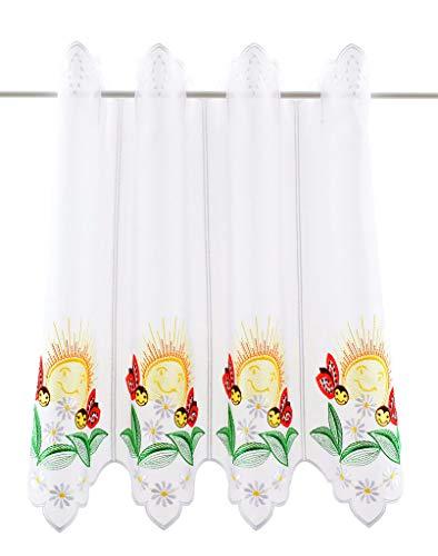 Tenda della Finestra con Altezza Ape Altezza 45 cm | può Scegliere la Larghezza in segmenti da 16 cm, Come Vuole | Colore: Bianco con coloratissimi | Tendine Cucina