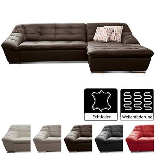 Cavadore Leder-Sofa Lucas / L-Sofa in Echtleder mit Steppung / Longchair rechts / Größe: 287 x 81 x 165 (BxHxT) / Leder braun
