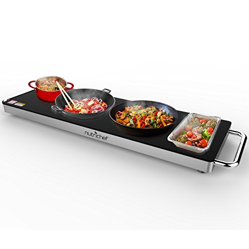 Portable Electric Food Hot Plate - Stainless Steel Warming Tray Dish Warmer w/ Black Glass Top - Keep Food Warm for Buffet Serving, Restaurant, Parties, Table or Countertop Use - NutriChef PKWTR40