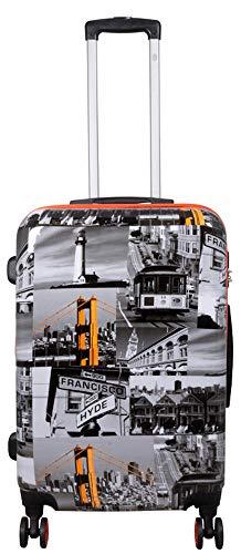 Polycarbonat Hartschalen Koffer Trolley Reisekoffer Reisetrolley Handgepäck Boardcase Motiv PM (San Francisco, Größe L)