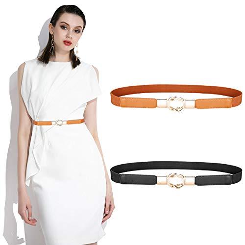 2 Pezzi Cintura Elastica in Vita da Donna Cintura Moda Retrò Sottile per Donne Ragazze Vestito Accessori