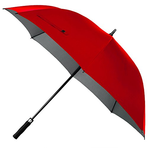 Rainlax 62 inch Oversize Canopy Automatic Open Large Outdoor Windproof Golf Umbrella 210T Teflon Rain&Wind Repellent UPF 50+ Sun Protection Umbrellas (Red)