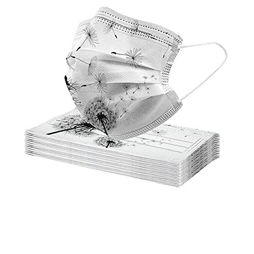 YINGXIONG 20 Stück Erwachsene Einweg Mundschutz mit Motiv Einmal_3-lagig Mund-und Nasenschutz Elegant Blumenmuster Printed Multifunktionstuch Halstuchs Atmungsaktive Bandana für Damen