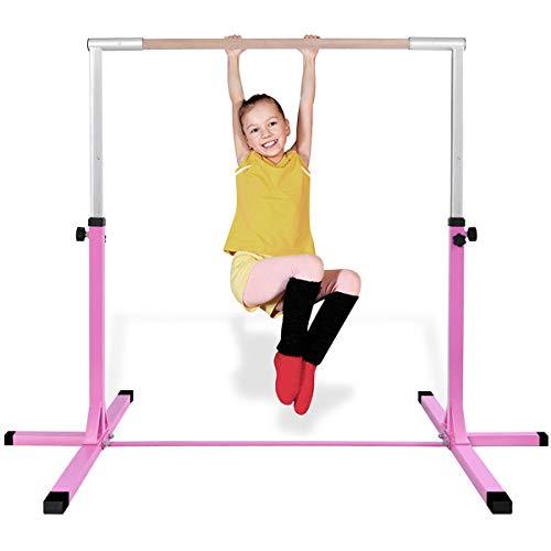 COSTWAY Gymnastik Turnreck, Turnreck höhenverstellbar, Turnstangen bis 100kg belastbar, Reckstange, Reckanlage, Trainingsgeräte, Übungsstange für den Innenbereich, Heimtraining (Rosa)