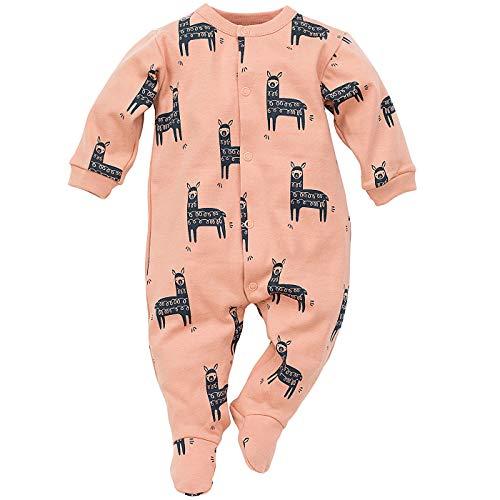 Pinokio - Happy Llama - Baby Schlafanzug 100% Baumwolle - Unisex Jungen Mädchen Schlafanzug Einteilig - Strampler - Overall Weiß Mint Türkis Orange (56 cm, Orange)