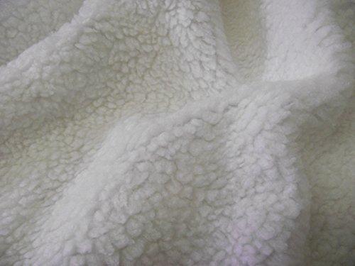 CRS Fur Fabrics Tela de forro polar de piel de oveja SHERPA, Fibra sintética, Blanco, 1Mtr-150cm x 100cm