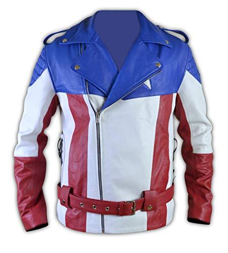 Leather-Spot Vereinigte Staaten von Amerika USA-Flaggen-Radfahrer-Lederjacke-s